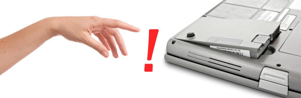 wyjmowanie baterii z laptopa