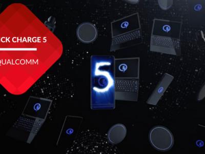 przenosnepl_prezentacja technologi Quick Charge 5 laptopy i smartfony w przestrzeni na ciemnym tle
