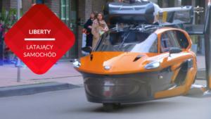 przenosnepl_trójkołowy latający samochód jedzie ulicą Amsterdamu