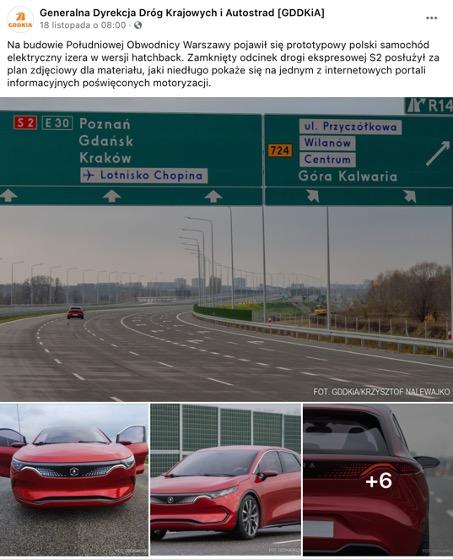 post GDDKiA na Facebooku prezentujący samochód marki izera