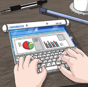 komiks pokazujący rozwijany cienki ekran z klawiaturą na której ktoś pisze widać ręce