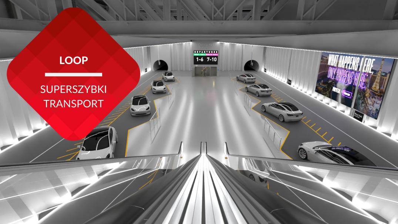 przenosnepl_wizualizacja stacji szybkiego transportu podziemnego Loop samochody tesla w tunelu widziane z ruchomych schodów