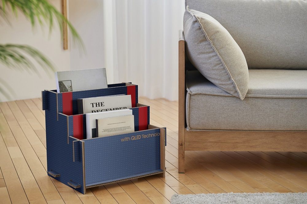 newspaper box made of Samsung TV box