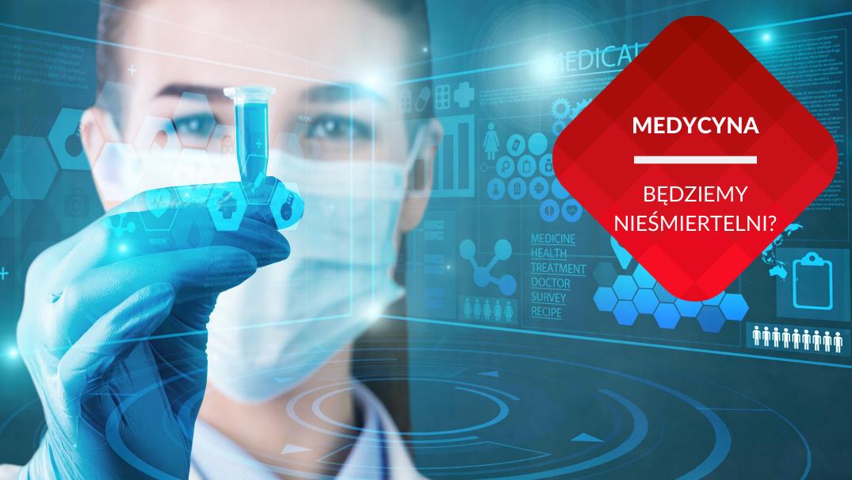 przenosnepl_wizualizacja czlowiek przyszlosci medyczka w masce z probowka fiolka na tle ekranu multimedialnego